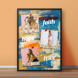 Tablou 3 poze Faith Hope Love