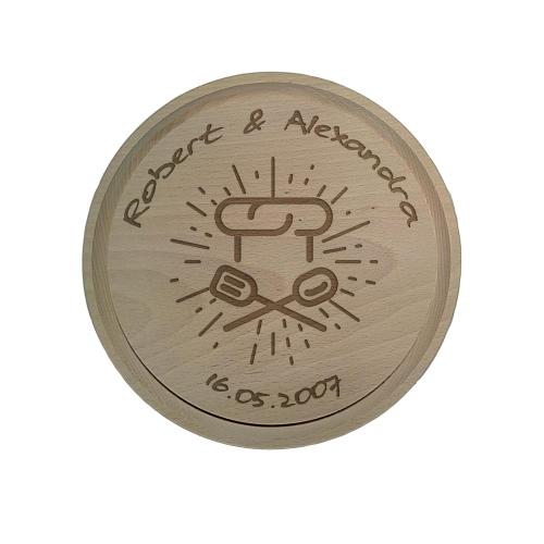 Tocator lemn personalizat rotund 27.5 cm